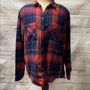 BDG Long Sleeve Plaid Flannel Shirt Size Medium